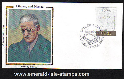 Ireland 1982 Fdc James Joyce Colorano Silk Cachet Cover