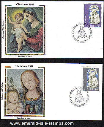Ireland 1982 Fdc Christmas Set Of Silk Cachets Colorano