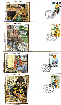 Ireland 1983 Fdc Handcrafts 4 Silk Cachets (colorano)