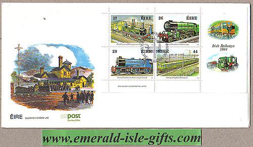 Ireland 1984 Fdc Irish Railways Trains Min Sht (an Post