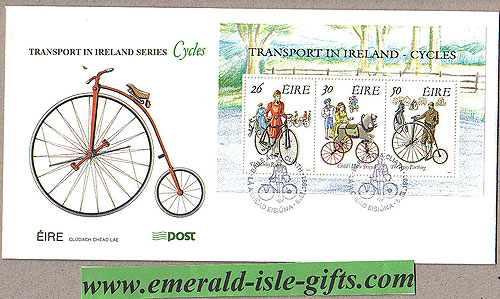 Ireland 1991 Fdc Irish Bicycles Min Sheet (an Post)