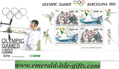 Ireland 1992 Fdc Olympics Barcelona Min Sheet (an Post)