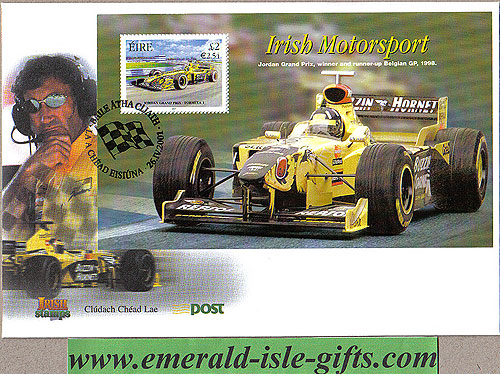 Ireland 2001 Fdc Jordan Grand Prix Min Sheet (an Post)