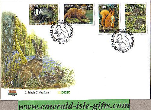 Ireland 2002 Fdc Native Irish Mammals (an Post)
