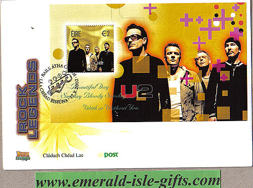 Ireland 2002 Fdc U2 Miniature Sheet Cover (an Post)