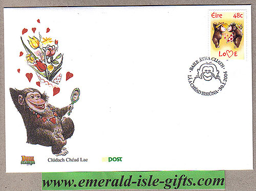Ireland 2004 Love Stamp Two Monkeys In Love Fdc