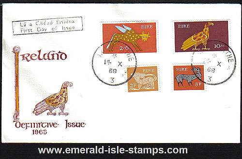 1968 Ireland Fdc Gerl Pre-decimal High Values (eagle)
