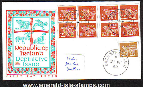 1969 Ireland Fdc Gerl 1/2p Blks Of 4 (philart)