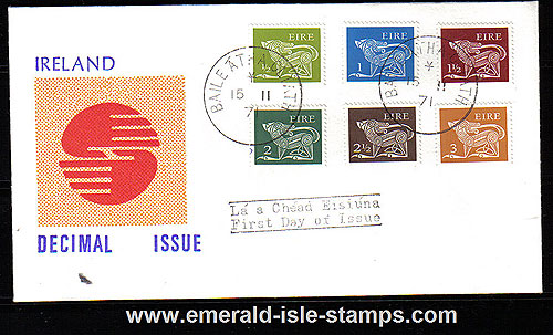 1971 Ireland Fdc Gerl 3rd Def Ser Low Values (decimal)