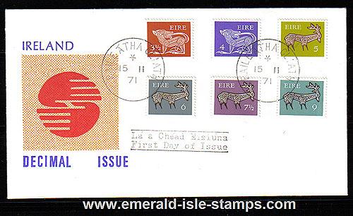 1971 Ireland Fdc Gerl 3rd Def Ser Med Values (decimal)