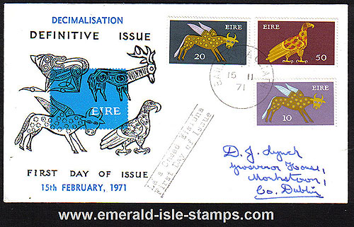1971 Ireland Fdc Gerl Decimal Issue High Vals (blue)