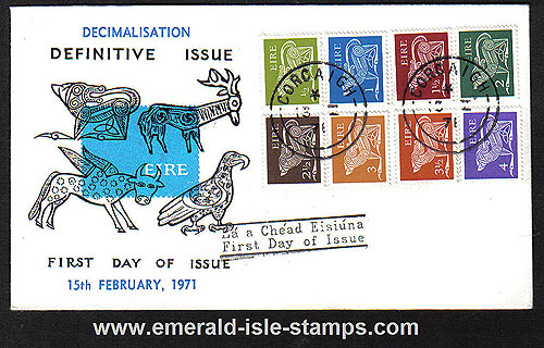 1971 Ireland Fdc Gerl Decimal Issue Low Vals (blue)