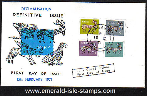 1971 Ireland Fdc Gerl Dec Issue Stag Values (blue)