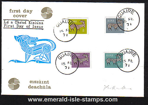 1971 Ireland Fdc Gerl Dec Issue Med Values (harp Dog)