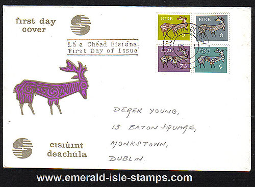 1971 Ireland Fdc Gerl Dec Issue Med Values (harp Stag)