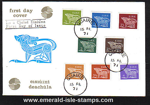 1971 Ireland Fdc Gerl Dec Issue Low Values (harp Dog)