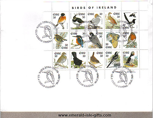 1999 Ireland Fdc 8th Def Birds Sheetlet First Day Cover