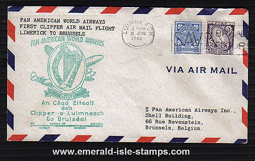 Ireland 1946 FFC Limerick To Brussels Pan Am Clipper