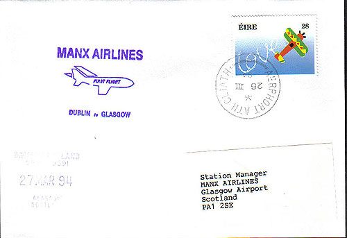 Ireland 1994 Ffc Dublin To Glasgow Manx Airlines
