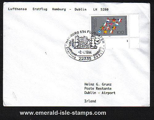 Ireland 1994 Ffc Hamburg To Dublin Lufthansa