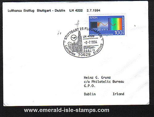 Ireland 1994 Ffc Stuttgart To Dublin Lufthansa