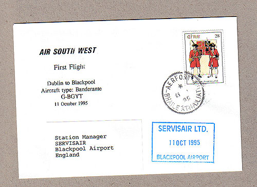 Ireland 1995 Ffc Dublin To Blackpool Air Southwest