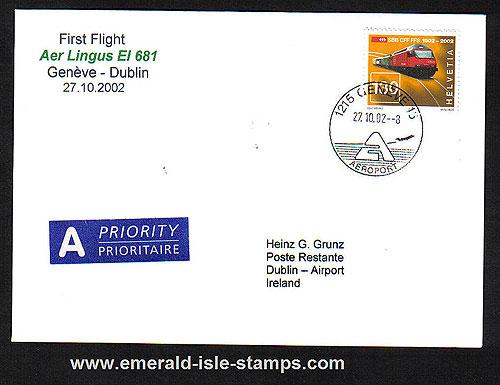 Ireland 2002 Ffc Geneva To Dublin Aer Lingus