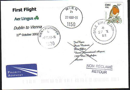 Ireland 2002 Ffc Dublin To Vienna Aer Lingus