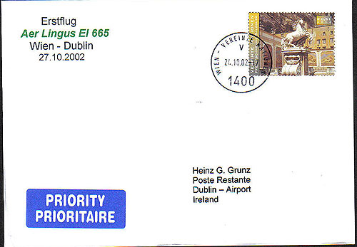 Ireland 2002 Ffc Wien Vienna Dublin Aer Lingus