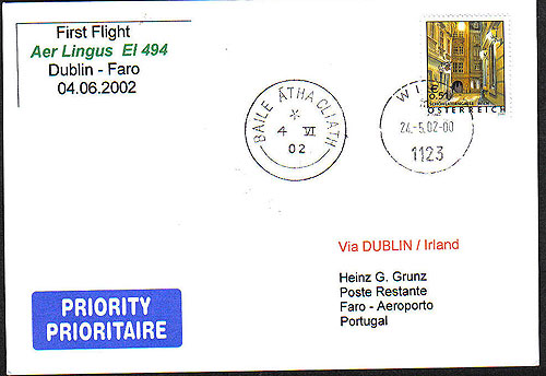Ireland 2002 FFC Aer Lingus Dublin To Faro