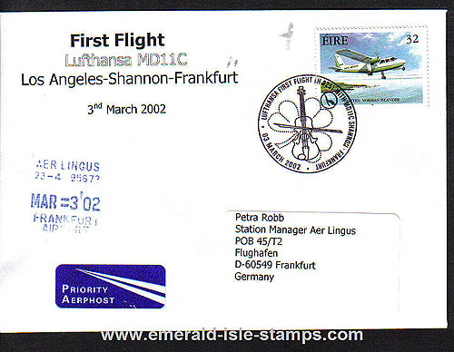 Ireland 2002 Ffc Los Angeles To Frankfurt Via Shannon