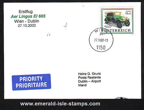 Ireland 2002 Ffc Vienna Wien To Dublin Aer Lingus
