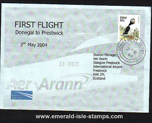 Ireland 2004 Ffc Donegal To Prestwick Glasgow Aer Arann