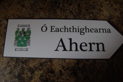 AHERN Coat of Arms on Wooden Sign