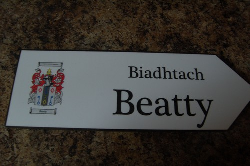 BEATTY Coat of Arms on Wooden Sign
