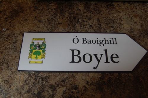 BOYLE Coat of Arms on Wooden Sign