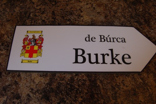 BURKE Coat of Arms on Wooden Sign