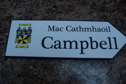 CAMPBELL Coat of Arms on Wooden Sign