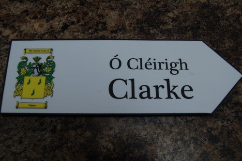 CLARKE Coat of Arms on Wooden Sign