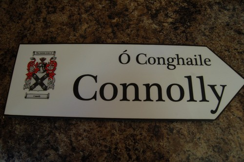 CONNOLLY Coat of Arms on Wooden Sign