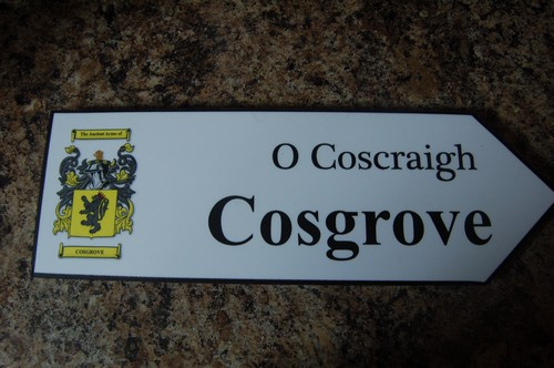 COSGRAVE Coat of Arms on Wooden Sign