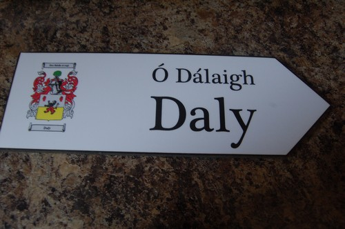DALY Coat of Arms on Wooden Sign