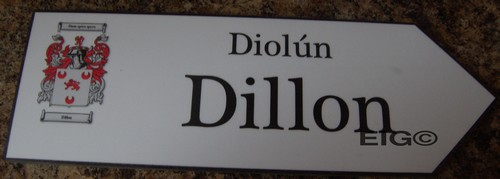 DILLON Coat of Arms on Wooden Sign