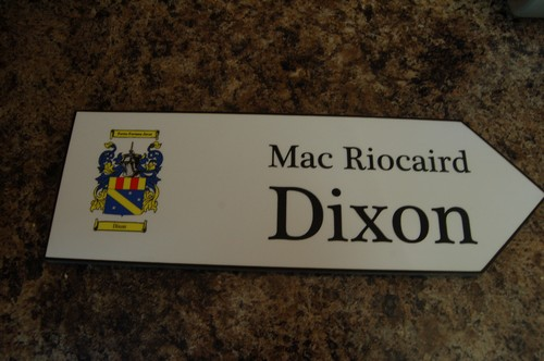 DIXON Coat of Arms on Wooden Sign