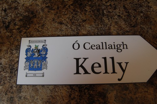 Irish Family Name Wood Road Signs Kelly Coat Of Arms On