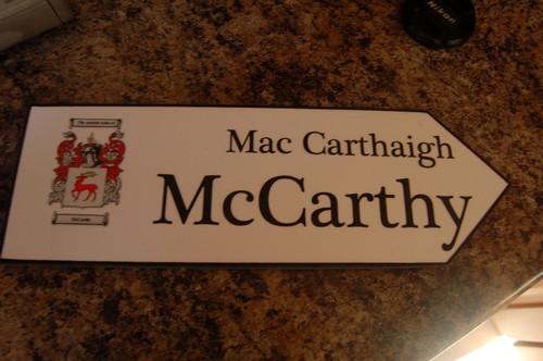 Irish Family Name Wood Road Signs Mccarthy Coat Of Arms
