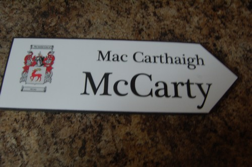 Irish Family Name Wood Road Signs Mccarty Coat Of Arms