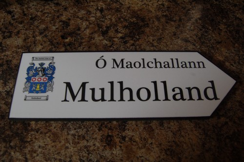 MULHOLLAND Coat of Arms on Wooden Sign