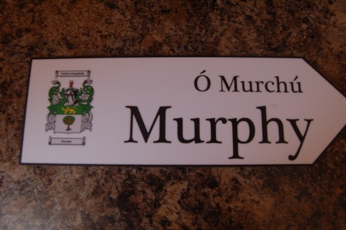 Irish Family Name Wood Road Signs Murphy Coat Of Arms On