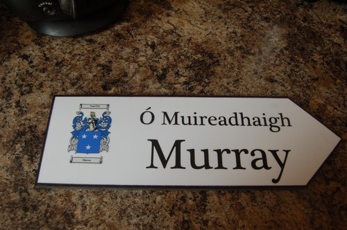 Irish Family Name Wood Road Signs Murray Coat Of Arms On